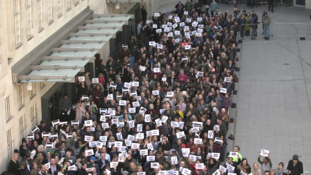 Carrie Gracie and protesters outside BBC Broadcasting House to protest over gender pay inequality