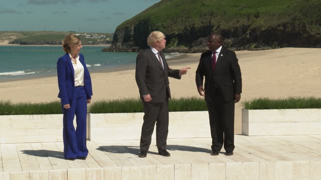 carrie johnson, wife of u.k. prime minister boris johnson, left, and boris johnson, u.k. prime minster, center, greet cyril ramaphosa, south africa's... - kicking stock videos & royalty-free footage