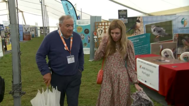 Carrie Symonds makes speech at Birdfair ENGLAND Rutland Oakham Various of Carrie Symonds and others visiting exhibition stands at Birdfair...