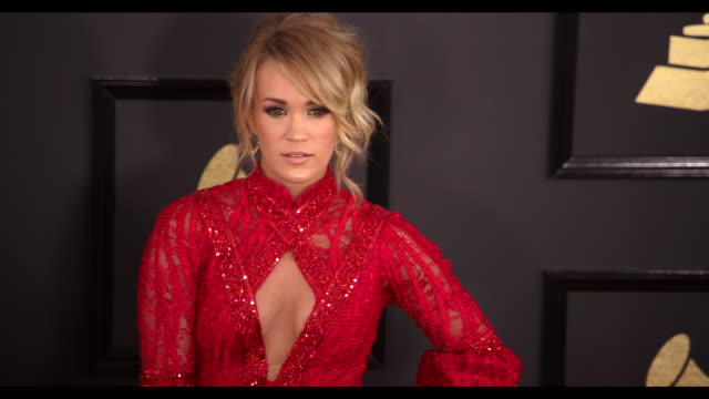 carrie underwood at 59th annual grammy awards arrivals at staples center on february 12 2017 in los angeles california 4k - grammy awards stock videos & royalty-free footage