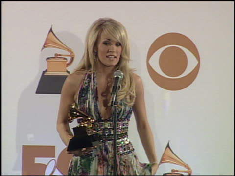 Carrie Underwood at the 2008 Grammy Awards press room at Staples Center in Los Angeles California on February 10 2008