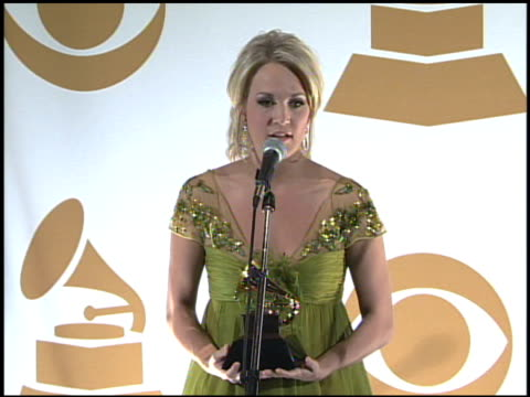 Carrie Underwood at the 51st Annual Grammy Awards Press Room at Los Angeles CA