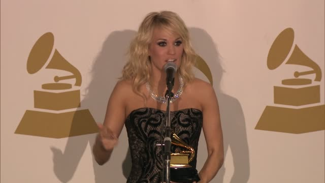 speech carrie underwood on american idol at the 55th annual grammy awards press room 2/10/2013 in los angeles ca - american idol stock videos & royalty-free footage