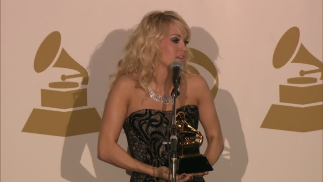 SPEECH Carrie Underwood on coming to the Grammys at The 55th Annual GRAMMY Awards Press Room 2/10/2013 in Los Angeles CA