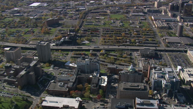 aerial carrier dome and surrounding syracuse university buildings and grounds / syracuse, new york, united states - syracuse stock videos & royalty-free footage