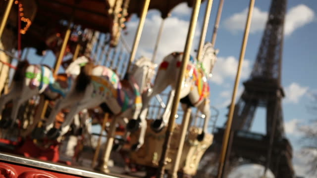 carrousel in paris - carousel horse stock videos and b-roll footage