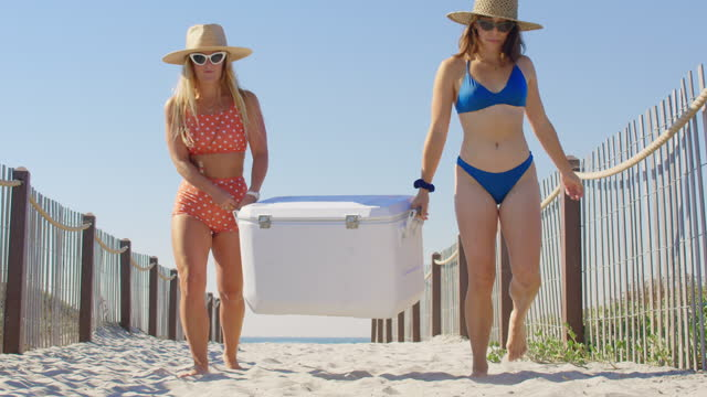 carrying a cooler from the beach - cool box stock videos & royalty-free footage