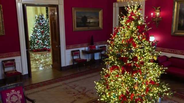 carrying first lady melania trump's 'be best' initiative the red room is decorated to 'celebrate children through the décor which displays ways in... - melania trump stock videos & royalty-free footage