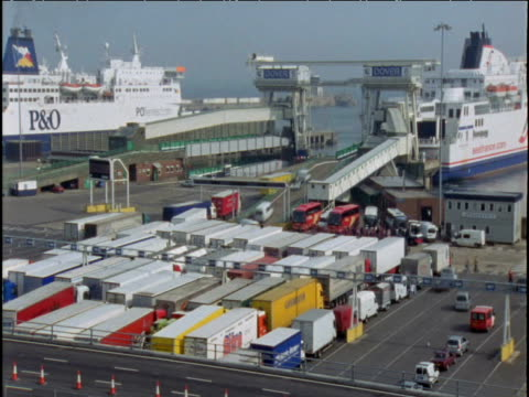 cars and lorries queue and drive onto cross-channel ferry dover - english channel stock videos and b-roll footage