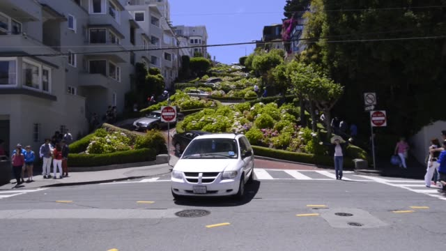 vídeos de stock, filmes e b-roll de cars and pedestrians drive and walk down lombard street in san francisco california us shots of tourists and visitors posing for photographs around... - lombard street san francisco