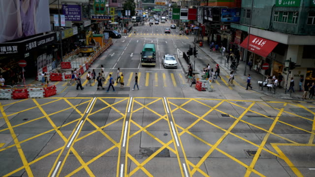 cars and people on street in hongkong, time lapse - mid section stock videos and b-roll footage