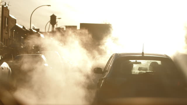 cars and truck in traffic - smog video stock e b–roll