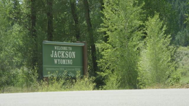 """cars and vehicles drive by the """"welcome to jackson, wyoming"""" sign in a thicket of trees on a sunny day - welcome segnale inglese video stock e b–roll"""
