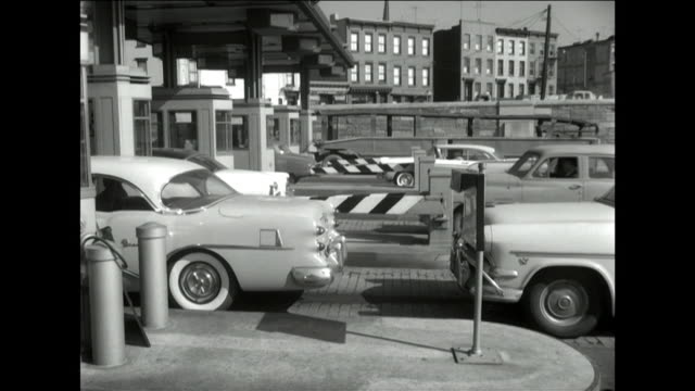 cars at tolls for lincoln tunnel in 1957 - 1957 stock videos & royalty-free footage