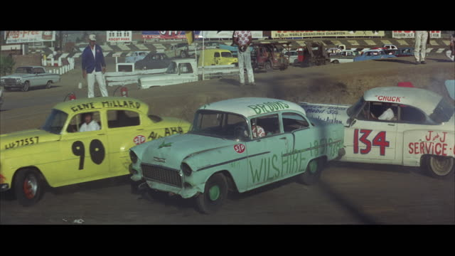 1967 ws pan cars crashing in demolition derby at ascot park / los angeles, california, usa - 1967 stock videos and b-roll footage
