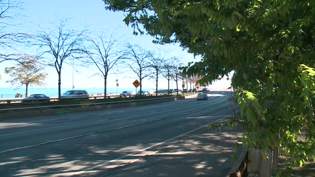 cars drive down lake shore drive on a sunny, fall day in chicago on october 18, 2015. - seeufer stock-videos und b-roll-filmmaterial
