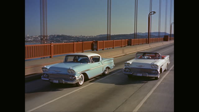 ws ts cars driving across golden gate bridge / san francisco, california, united states - human age stock videos & royalty-free footage