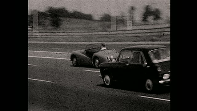 cars driving on british motorway where seventy miles per hour is the speed limit, 1967 - boundary stock videos & royalty-free footage