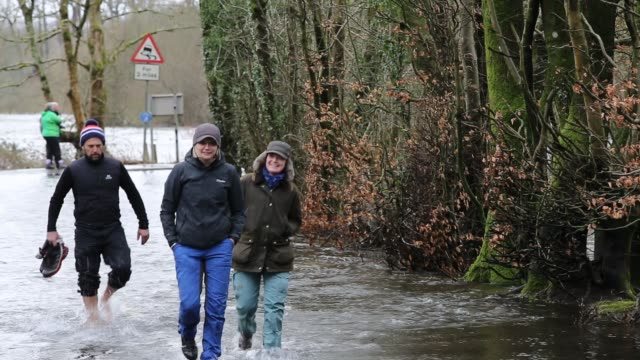 cars driving through the flood waters caused by storm ciara at lake windermere in ambleside lake district uk - walking in water stock videos & royalty-free footage
