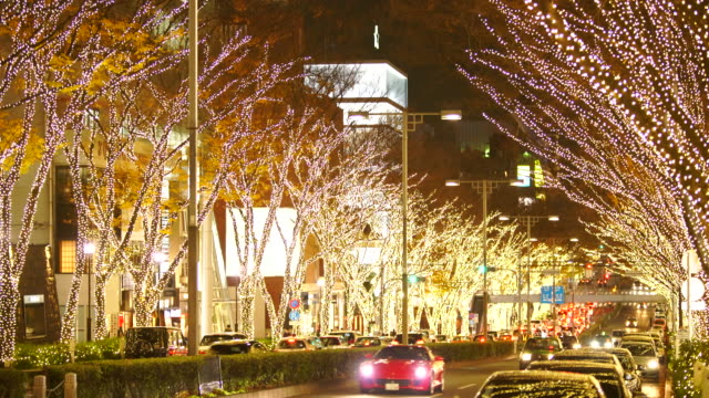 cars go through among the illuminated tree lined omotesadndo street in the night at kitaaoyama, minato tokyo japan on december 06 2017. tree lined omotesando street is decorated and illuminated for winter holydays seasons. - イルミネーション点の映像素材/bロール