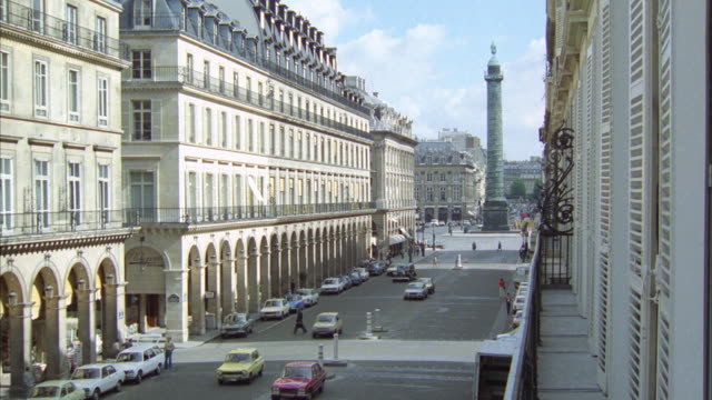 ws pan cars moving in front of hotel inter-continental at rue de la paix area in paris - 1978 stock videos and b-roll footage