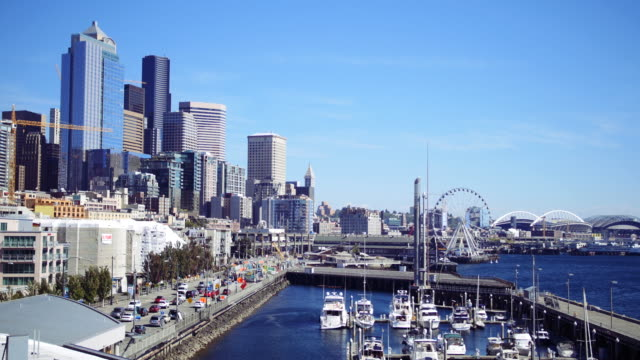 cars moving on city highway, seattle washington - seattle stock videos & royalty-free footage