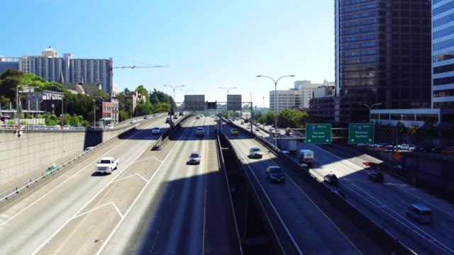 Cars Moving on City Highway, Seattle Washington