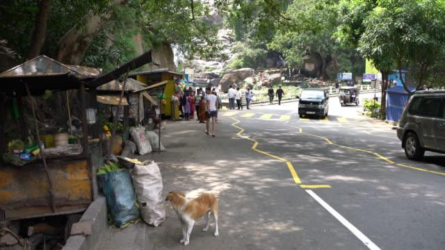 stockvideo's en b-roll-footage met ms cars verplaatsen op de weg langs de weg markt kraampjes, sri lanka - sri lanka