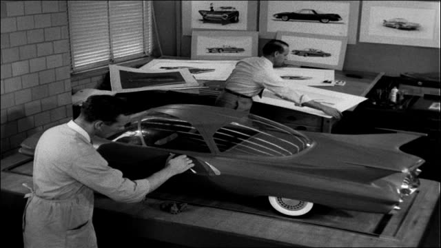 cars of the future, 1958 - sculpture stock videos & royalty-free footage