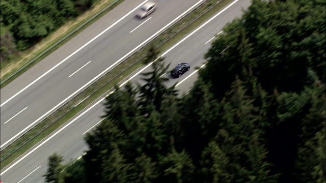 cars on e50 motorway - aerial view - bavaria,  helicopter filming,  aerial video,  cineflex,  establishing shot,  germany - overhead projector stock videos & royalty-free footage