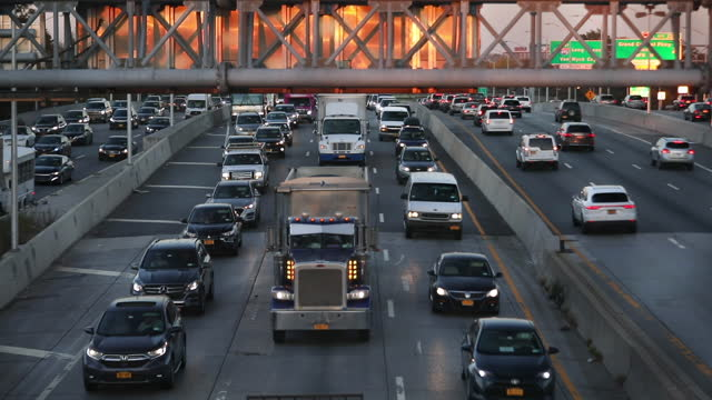 cars on expressway during heavy traffic. - manhattan new york city stock videos & royalty-free footage