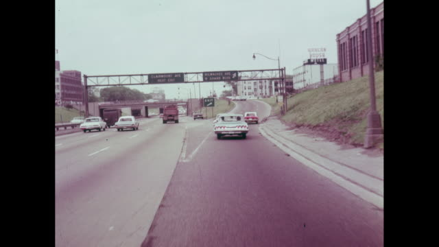 ws pov cars on highway / detroit, michigan, united states - 1964 stock videos and b-roll footage