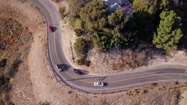 Cars on Mulholland Drive, Beverly Hills - Aerial View