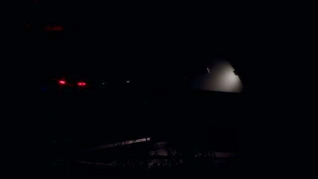 Cars on night city road