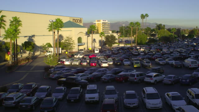 ws ha cars on shopping mall parking lot, palmdale, california, usa - palmdale stock videos and b-roll footage