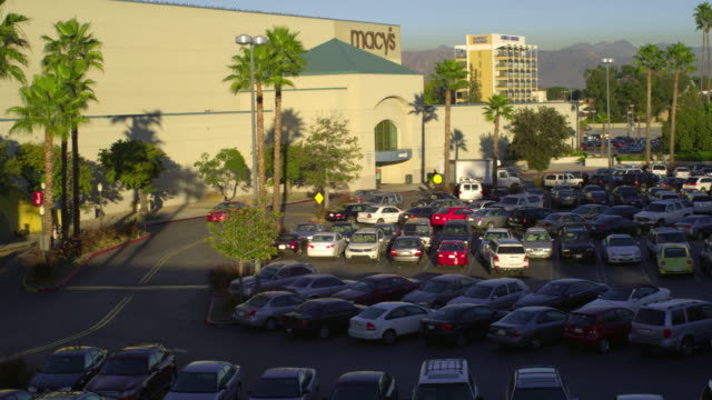 ws ha pan cars on shopping mall parking lot, palmdale, california, usa - palmdale stock videos and b-roll footage