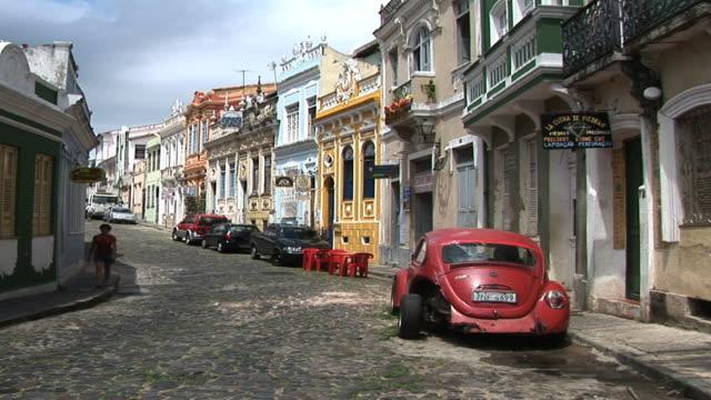 ws cars on street, port de commerce, salvador, bahia, brazil - bahia state stock videos & royalty-free footage