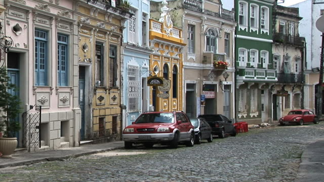 ws cars on street, rue quartier san antonio, salvador, bahia, brazil - bahia state stock videos and b-roll footage