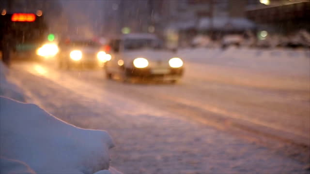 cars on the road snow frosty winter night - winter video stock e b–roll