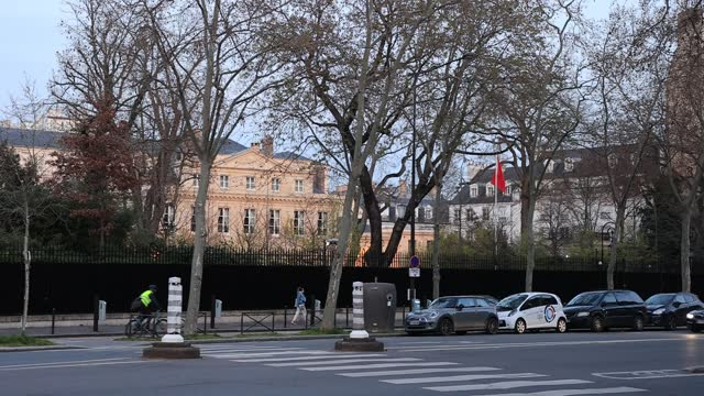 cars pass in front of the chinese embassy in the french capital on march 24, 2021 in paris, france. france is considering certain remarks recently... - politics illustration stock videos & royalty-free footage
