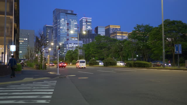 cars passing by at the central tokyo in the evening - zona pedonale strada transitabile video stock e b–roll