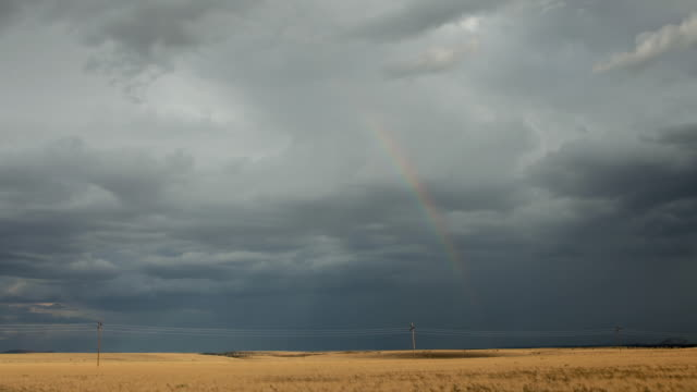 ws pan t/l cars passing by highway against stormy sky with rainbow / flagstaff, arizona, usa - flagstaff arizona video stock e b–roll