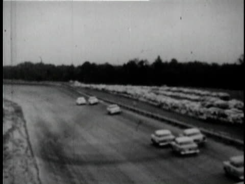 cars racing at southern 500 nascar race at darlington raceway / darlington south carolina usa / audio - 1955 video stock e b–roll