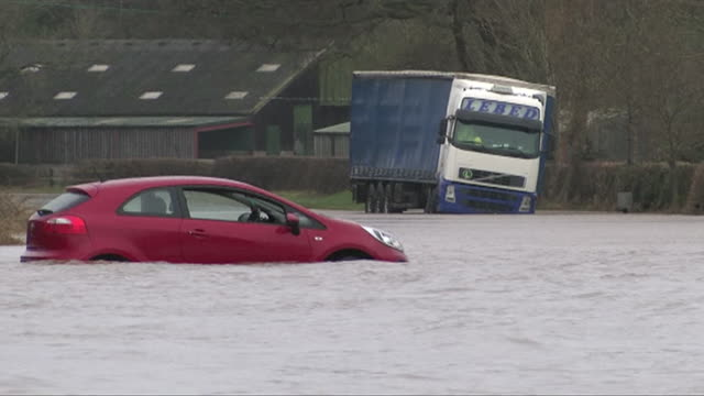 cars submerged by flood water caused by storm ciara in yorkshire - storm stock videos & royalty-free footage