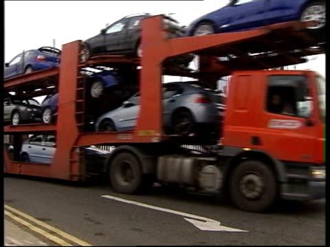 cars transported from longbridge plant - longbridge stock videos & royalty-free footage