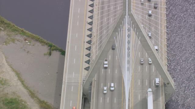 AERIAL Cars traveling across steel Leonard P. Zakim Bunker Hill Bridge, spanning Charles River / Boston, Massachusetts, United States
