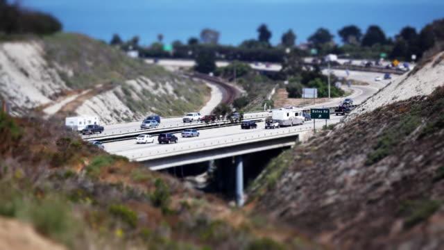 Cars Traveling on Freeway (Tilt Shift HD)
