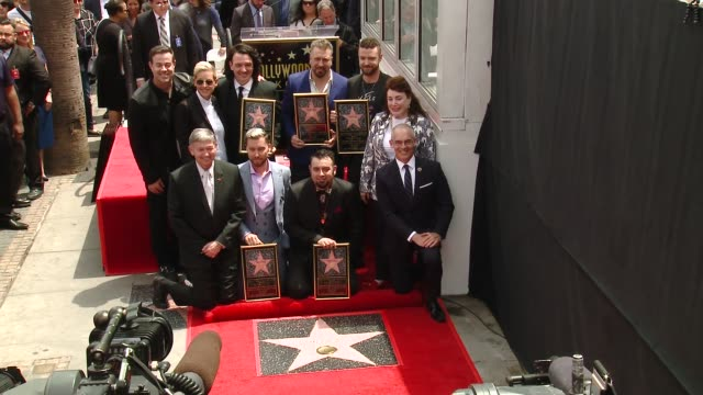 Carson Daly Ellen DeGeneres NSYNC Chris Kirkpatrick Lance Bass JC Chasez Joey Fatone Justin Timberlake at the *NSYNC Honored with a Star on the...