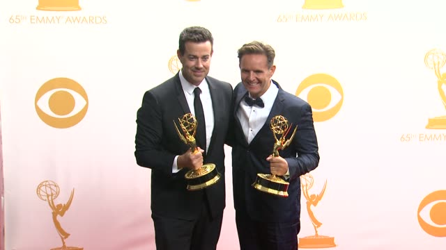 Carson Daly Mark Burnett at 65th Annual Primetime Emmy Awards Photo Room on 9/22/2013 in Los Angeles CA