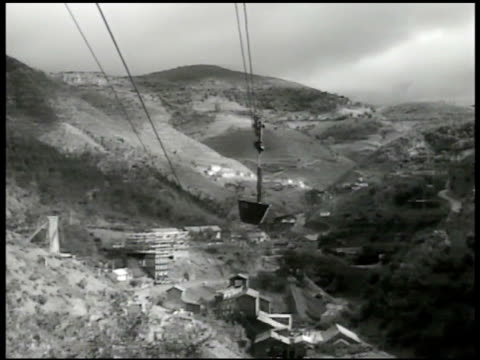 Cart going down on lift lines Trepca lead mines BG INT Yugoslavian workers operating carts MS Chute pouring ore into car